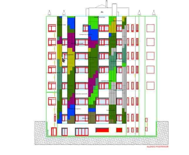 Plano detalle del jardin vertical leafskin de Madrid