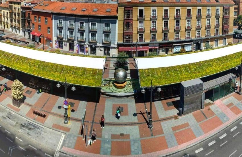 cubierta vegetal instalada en plaza España Valladolid