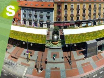 Cubiertas vegetales en la plaza de España Valladolid
