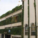Detalle de una fachada verde con plantas