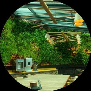 jardín verde con botelleros cerámicos
