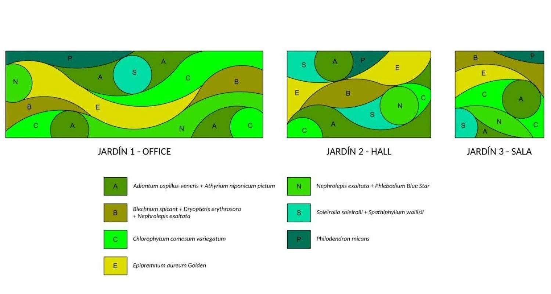 Diseño para jardines verticales en oficinas de Madrid