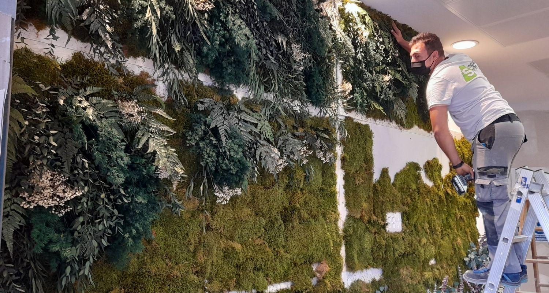 Montaje de Jardin vertical artificial en oficinas