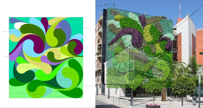 Diseño de un jardín vertical para una medianera en Alicante